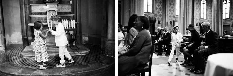 children in church at italian wedding in italy