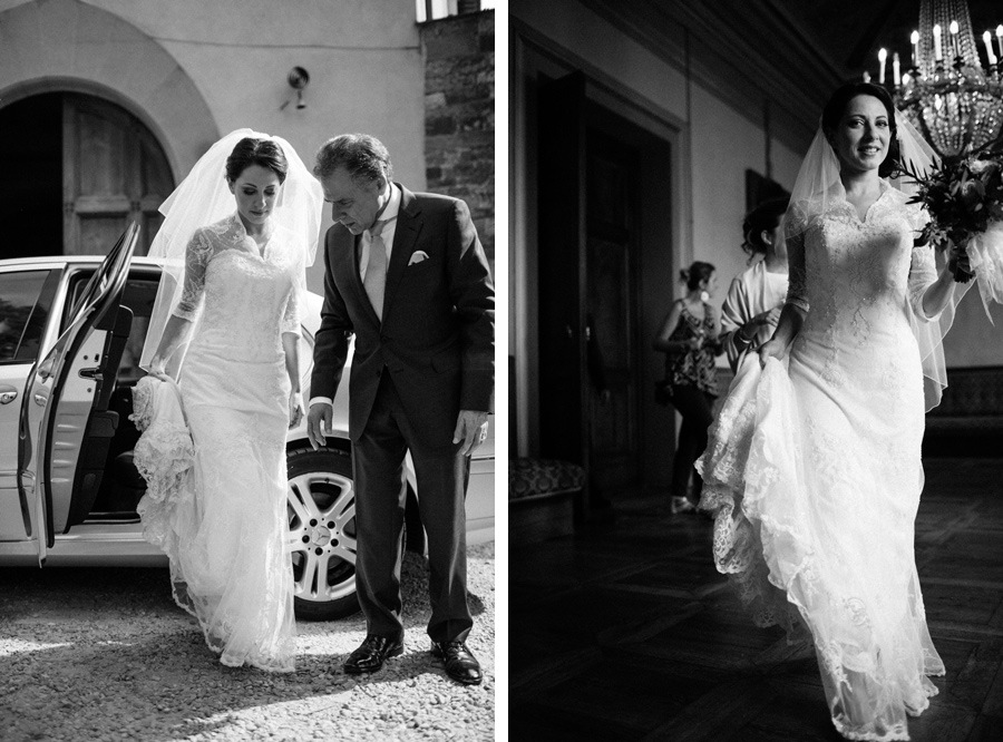 jewish bride and her father before jewish wedding ceremony in tuscany, florence organised by wedding planners sposiamovi florence silvia galli