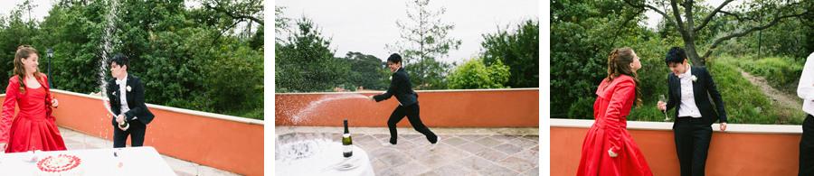 lesbian bride sprayed with champagne on her gay wedding