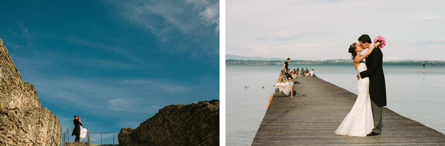 bride and groom portraits at the so-called Grotto of Catullus (Grotte di Catullo) lake garda, italy, sirmione