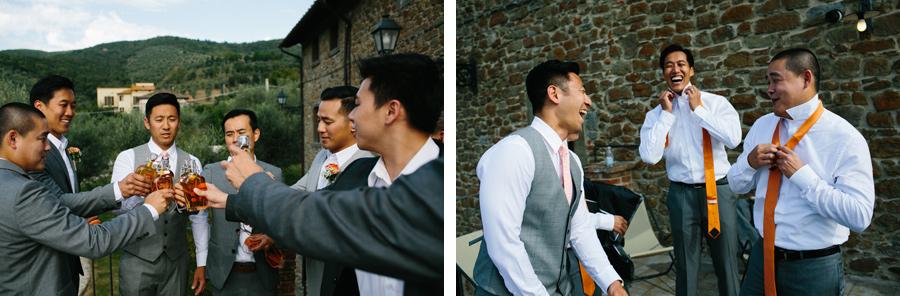Groom and Best Men Drinks Fun Villa Baroncino Wedding