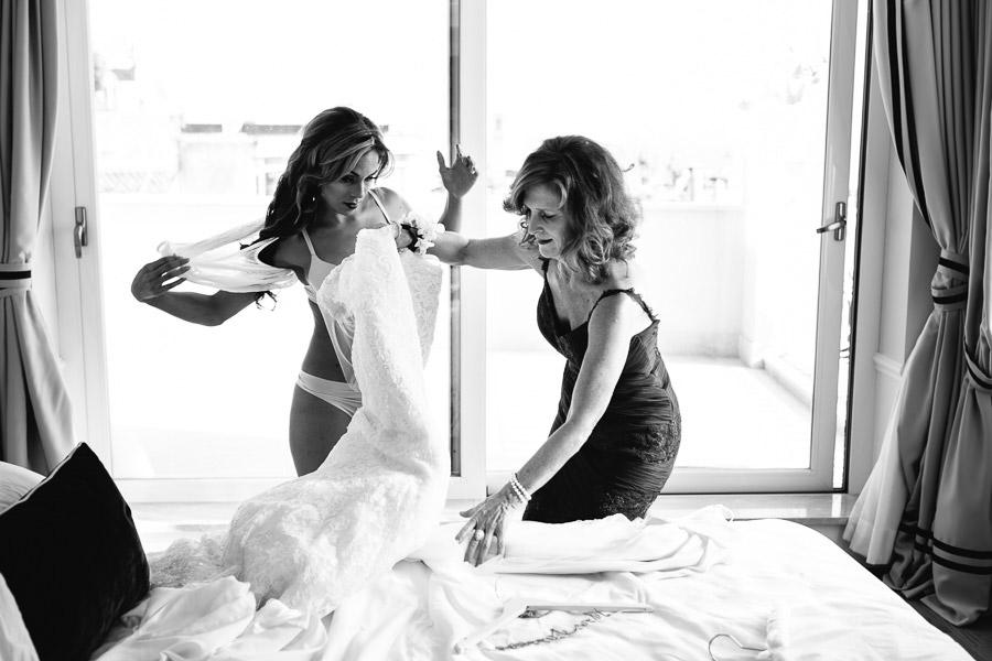 Bride putting her wedding dress in sicily
