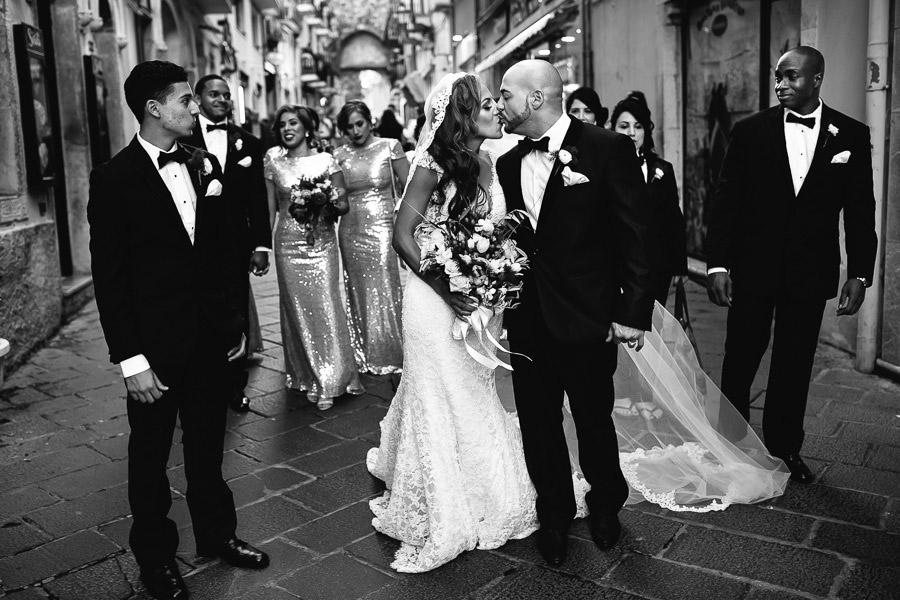 Taormina Wedding Walk Bride and Groom