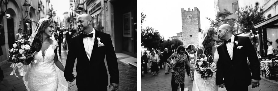 bride and groom kiss sicily