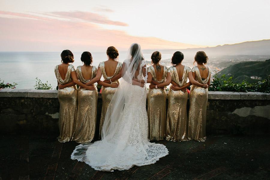 Sunset Wedding Photos Bridal Party Taormina